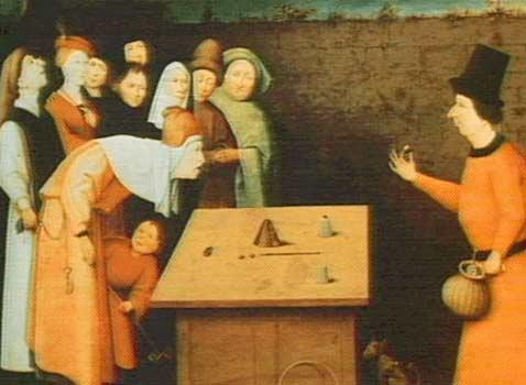 """Иероним Босх (Hieronymus Bosch), """"Фокусник"""" (изображение с сайта keptar.demasz.hu)."""